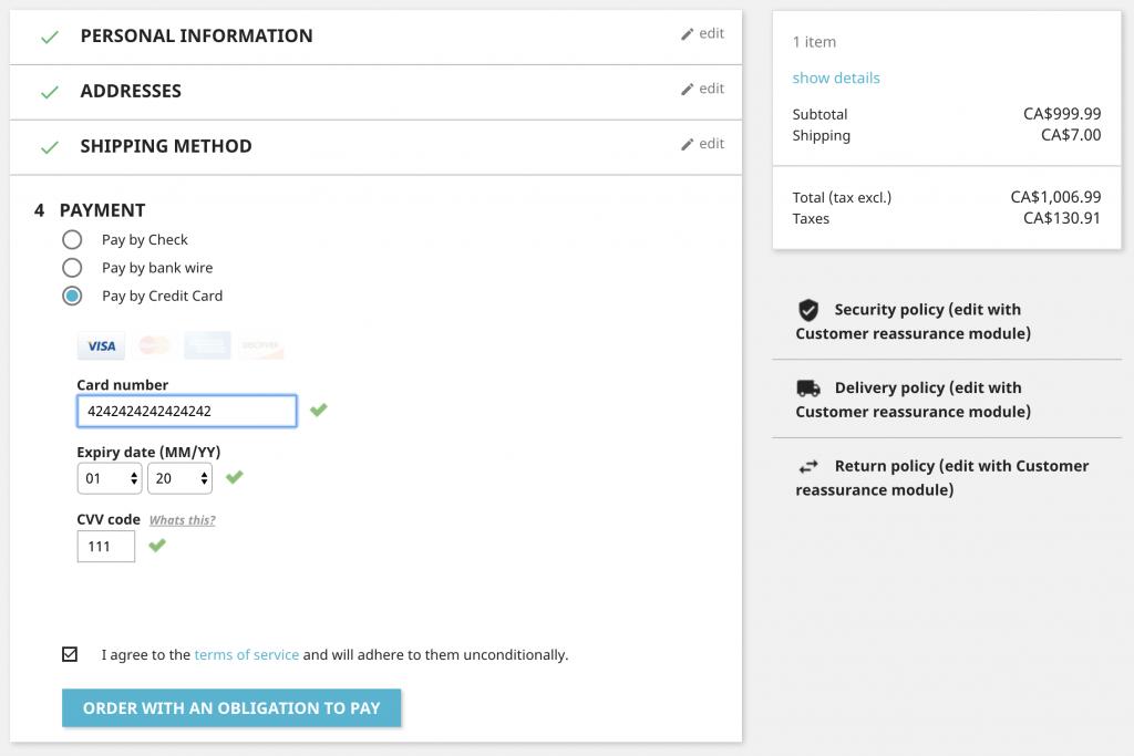 screenshot of moneris and paysafe credit card plugin