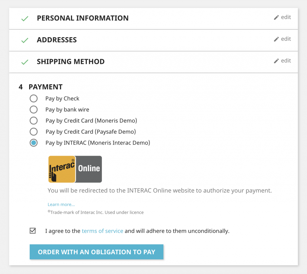 screenshot of interac module for prestashop